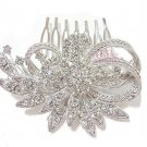 Wedding Comb, Flower Leaf Hair Comb, Rhinestone Crystal Comb, Bridal Hair Comb HC0009