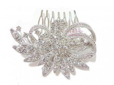 Wedding Comb, Flower Leaf Hair Comb, Rhinestone Crystal Comb, Bridal Hair Comb HC0009