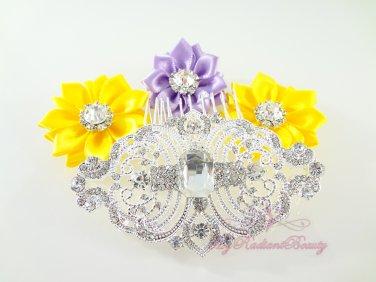 Crystal Flower Hair Comb, Rhinestone Comb, Bridal Comb, Bridesmaid Comb, Wedding Comb HC0016