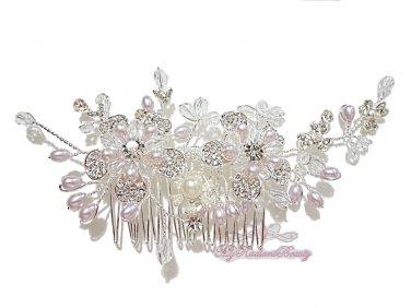Tiara Bridal Comb, Pearl Crystal Floral Hair Comb Tiara style, Wedding hair Comb HC0014