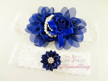 Navy Blue Chiffon Flower Garter, Rhinestone Bridal Garter, Wedding Bridal Garters GTF0003NB
