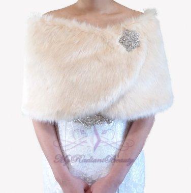 Bridal Champagne Faux Fur Wrap, Wedding Stole, Bridal Wrap FW108-CPN