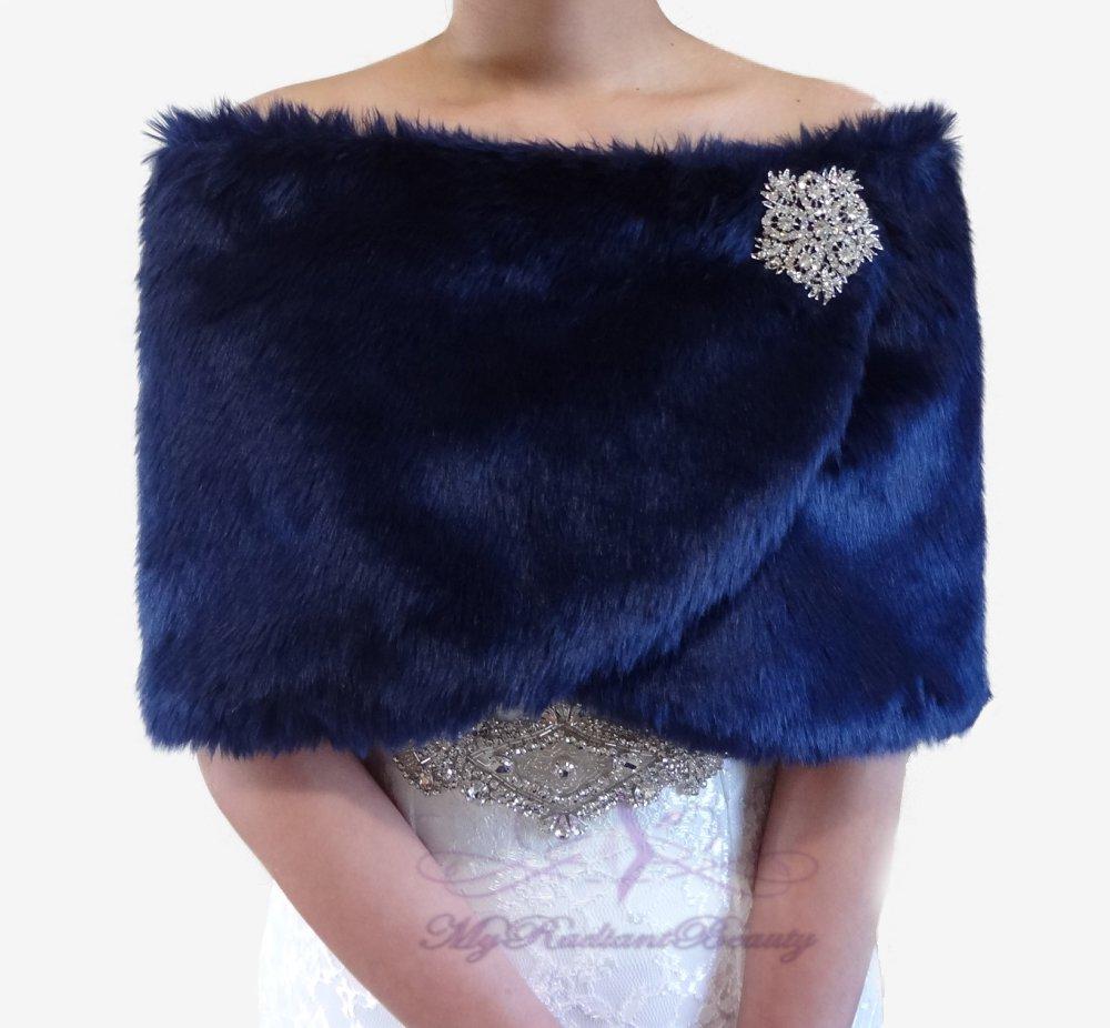 Bridal Navy Blue Faux Fur Wrap, Wedding Stole, Bridal Wrap FW108-N.BLUE