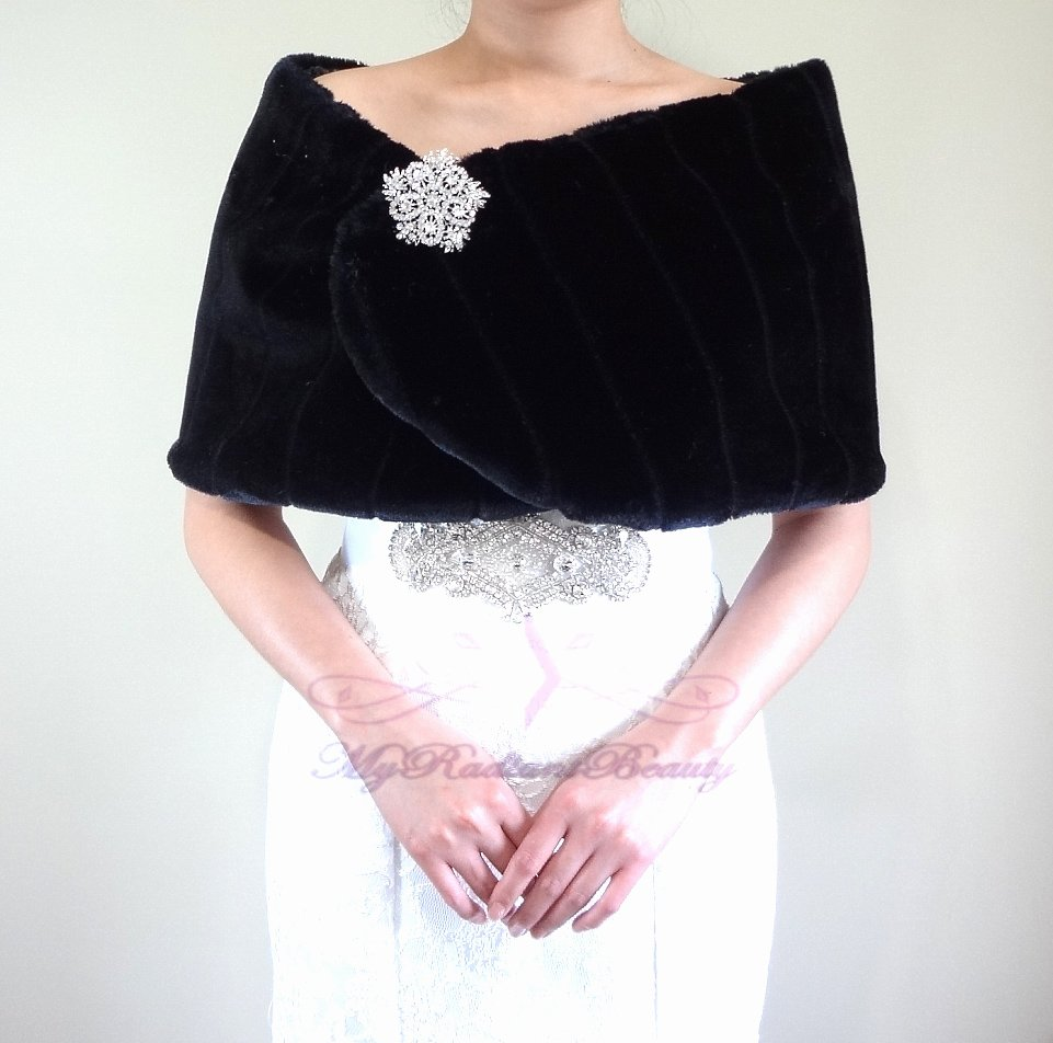 Bridal Black Faux Fur Mink Wrap, Wedding Stole, Bridal Wrap MW108-BLK