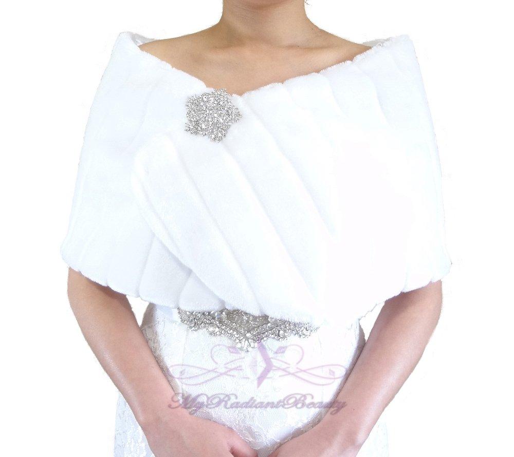 Bridal White Faux Fur Mink Wrap, Wedding Stole, Bridal Wrap MW108-WHI