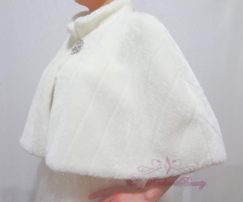 Bridal Ivory Faux Fur Mink Cape, Wedding Stole, Bridal Cape MC108-IVY