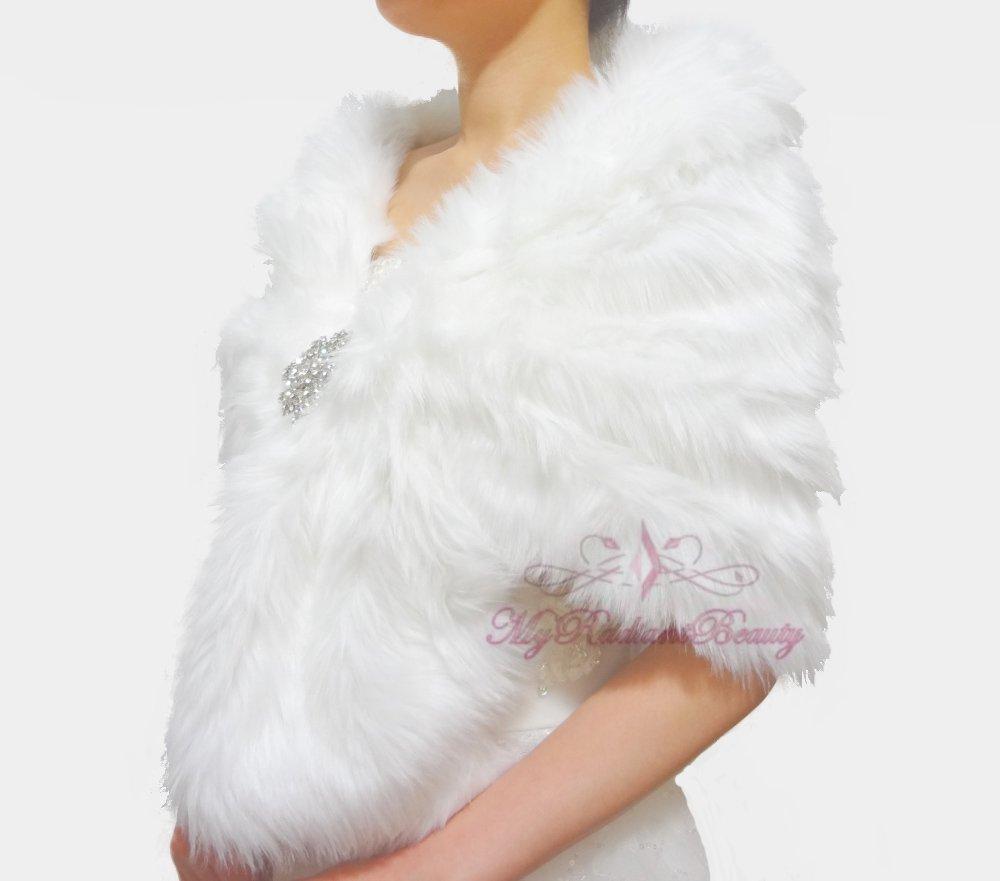 Bridal White Faux Fur Stole, Wedding Wrap, Bridal Stole FS108-WHI