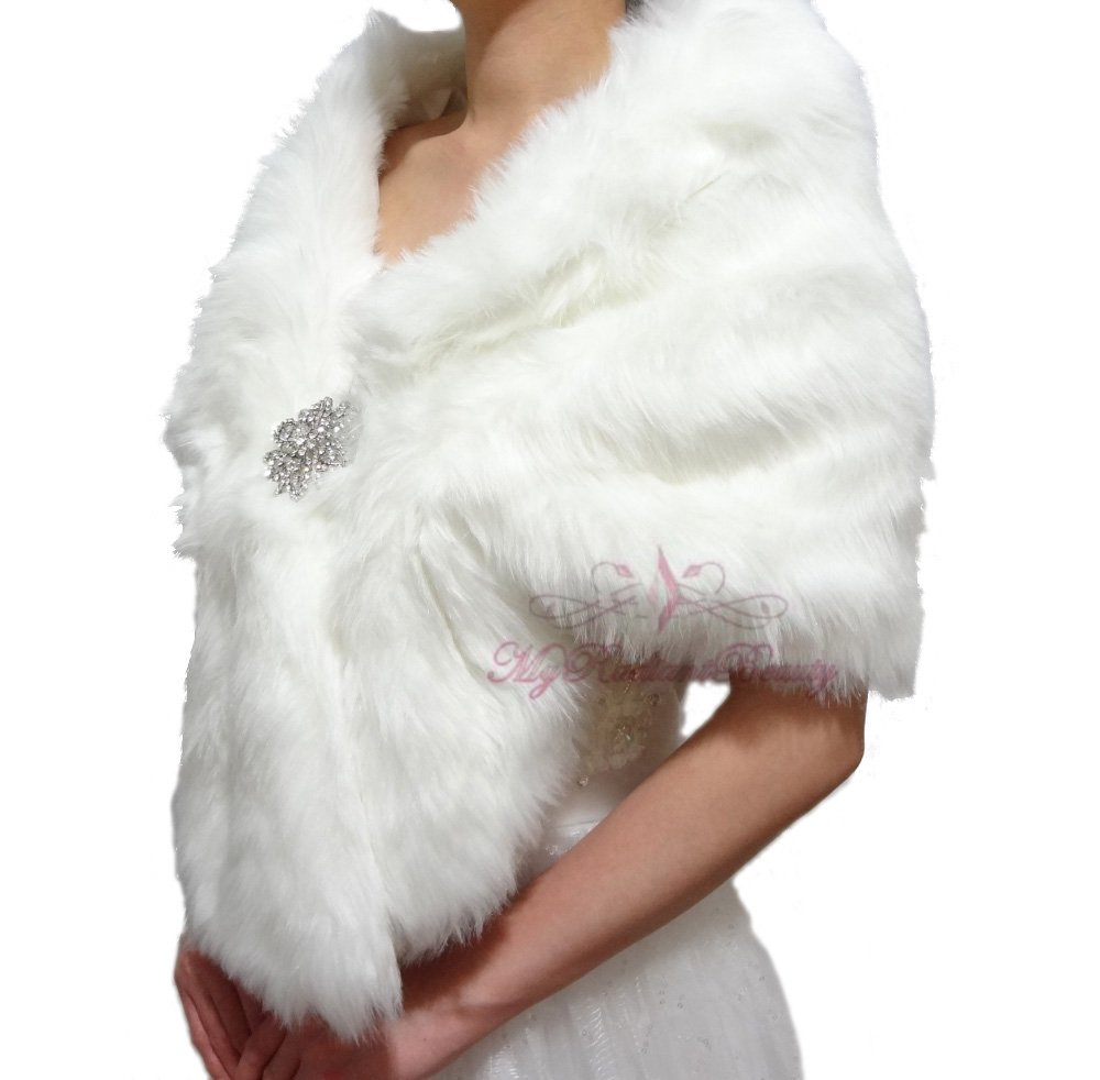 Bridal Ivory Faux Fur Stole, Wedding Wrap, Bridal Stole FS108-IVY