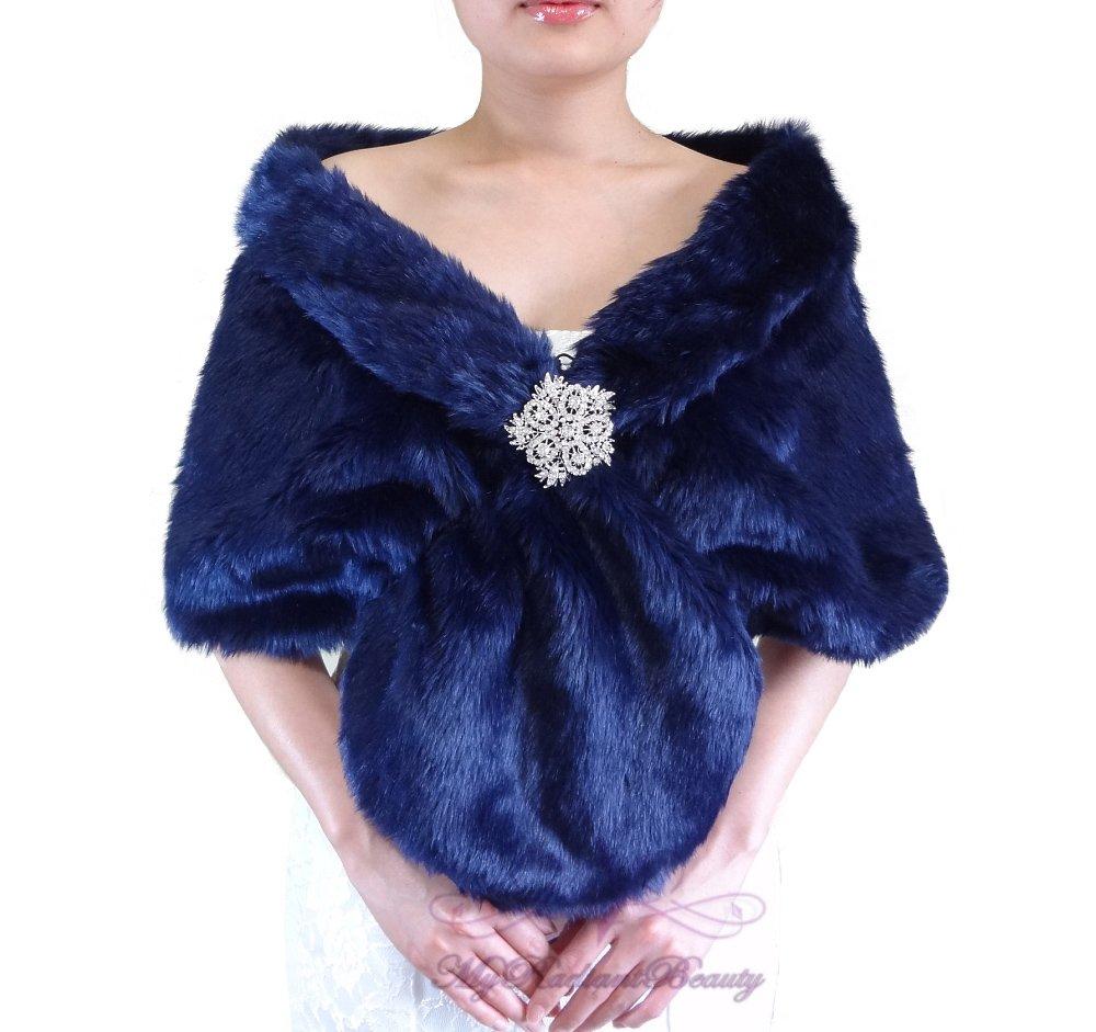 Bridal Navy Blue Faux Fur Stole, Wedding Wrap, Bridal Stole FS108-N.BLUE