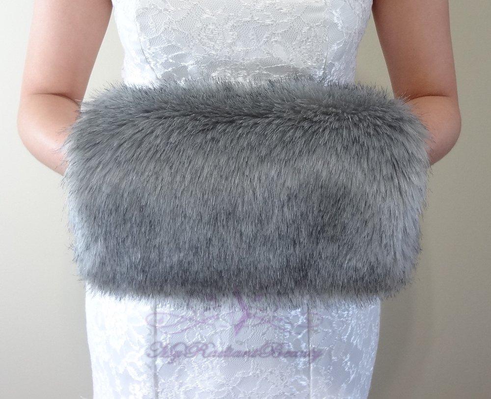 Bridal Grey Chinchilla Faux Fur Hand Muff, Wedding Hand Warmer, Bridal Handmuff HM108-GREYCHIN