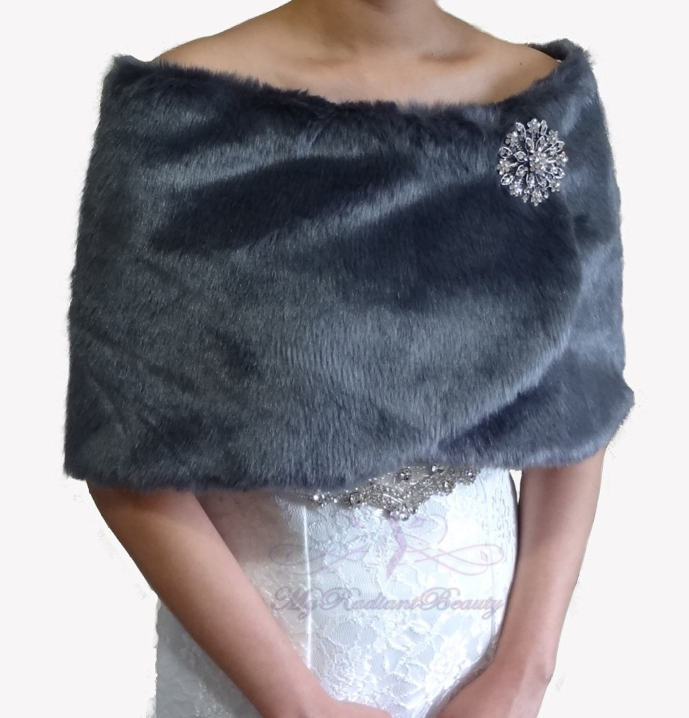Bridal Gray Faux Fur Wrap, Wedding Stole, Bridal Wrap FW108-GRAY