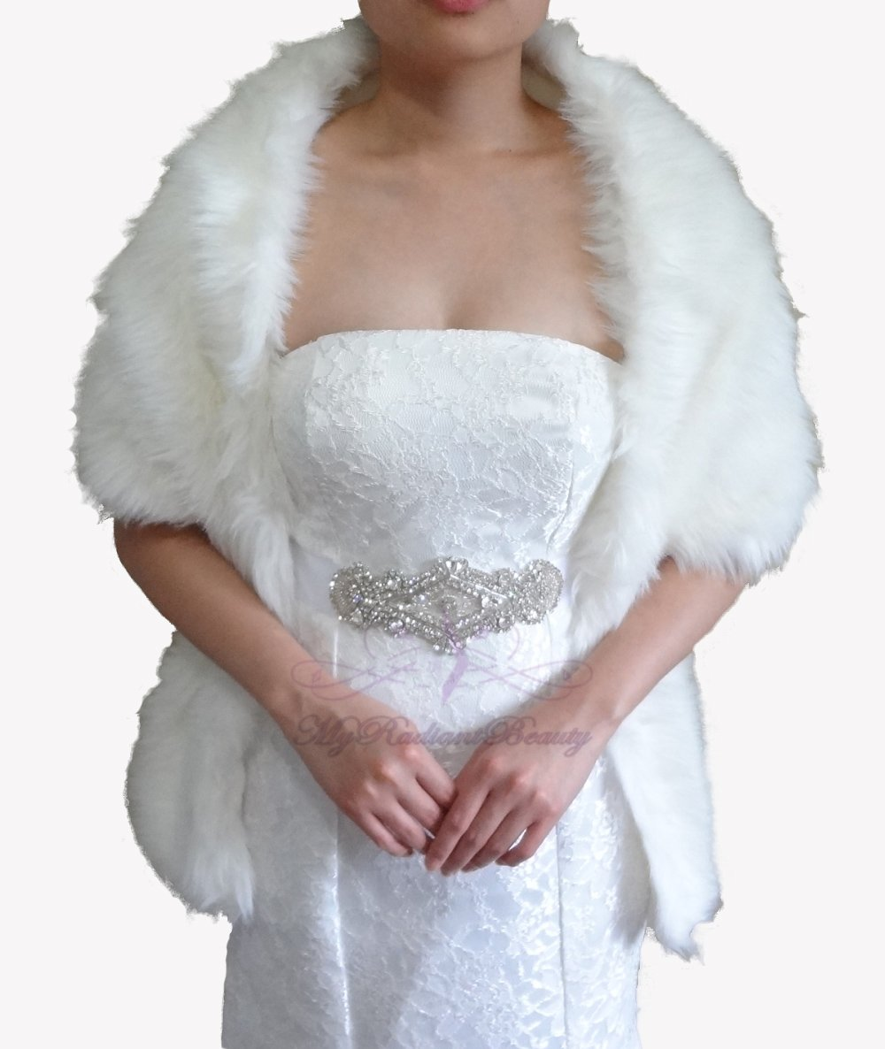 "Bridal Ivory Faux Fur Long Wrap, Wedding Wrap, Bridal Stole 62"" LW108-IVY"