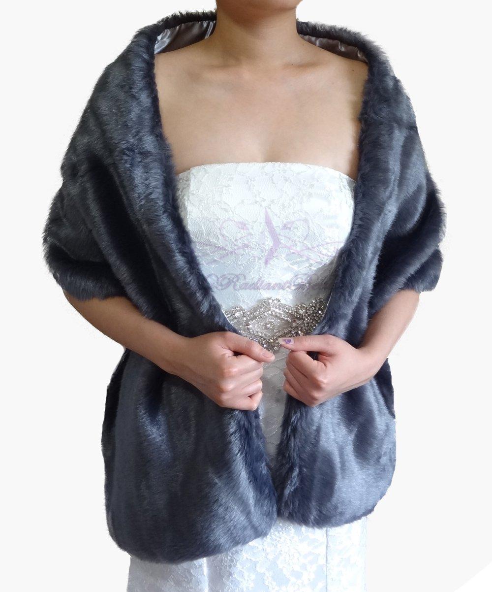 "Bridal Gray Faux Fur Long Wrap, Wedding Wrap, Bridal Stole 62"" LW108-GRAY"
