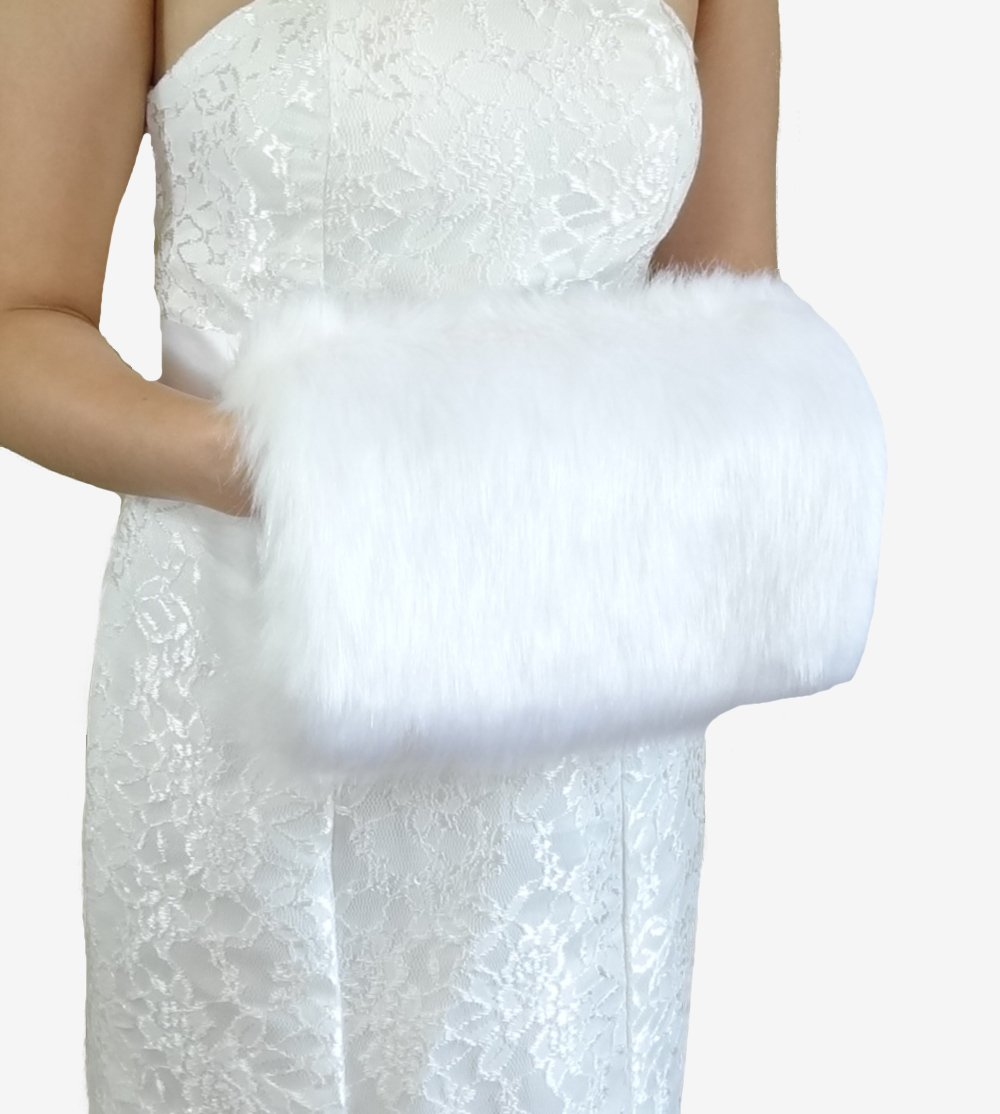 Bridal White Faux Fur Hand Muff, Wedding Hand Warmer, Bridal Handmuff HM108-WHI