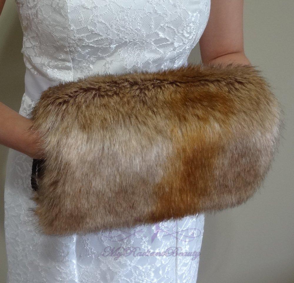 Bridal Vintage Brown Faux Fur Hand Muff, Wedding Hand Warmer, Bridal Handmuff HM108-V.BROWN