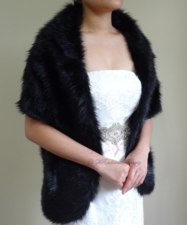 "Bridal Black Faux Fur Long Wrap, Wedding Wrap, Bridal Stole 62"" LW108-BLK"
