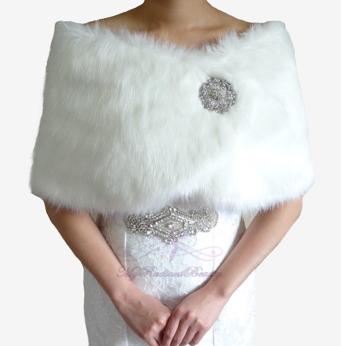 Bridal Ivory Faux Fur Wrap, Wedding Stole, Bridal Wrap FW108-IVY
