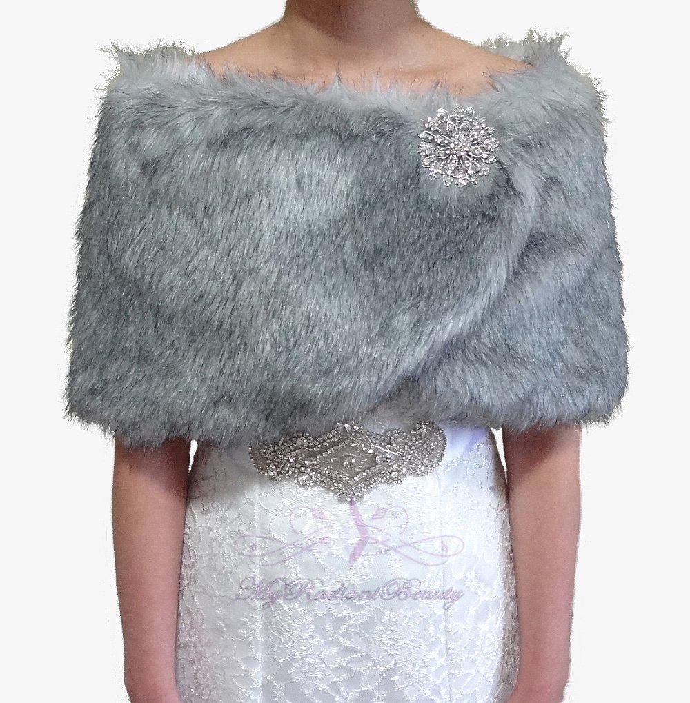 Bridal Grey Chinchilla Faux Fur Wrap, Wedding Stole, Bridal Wrap FW108-GREYCHIN