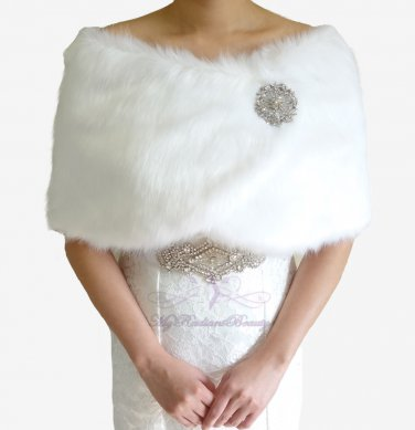 Bridal White Faux Fur Wrap, Wedding Stole, Bridal Wrap FW108-WHI
