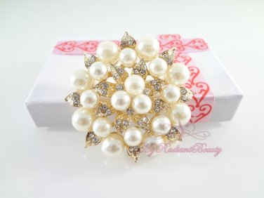 Gold Plated Cream Pearl Clear Rhinestone Crystal leaf Flower Wedding Brooch BR0010