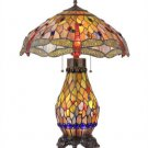 """Tiffany Style Dragonfly 4 Light Stained Glass Double Lit Table Lamp / 18"""" Shade"""