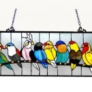 "25.5x10.5 Handcrafted Tiffany Style ""BIRDIES"" Birds Stained Glass Window Panel"