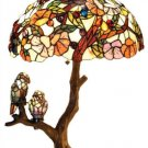 Breathtaking Handcrafted Tiffany Style Birds Stained Glass Double Lit Table Lamp