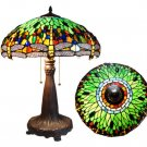 "Handcrafted Tiffany Style Stained Glass Dragonfly Table Lamp 18"" Shade"