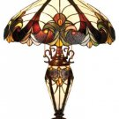 Handcrafted Tiffany Style Stained Glass Victorian Double Lit Table Lamp