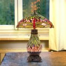 Handcrafted Tiffany Style Dragonfly 4 Light Stained Glass Double Lit Table Lamp