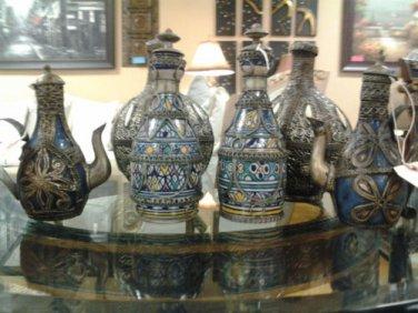 *BUNDLE* 100% Handmade & Handpainted Ceramic Decorative Teapots & Rosewater Jars