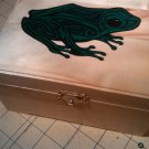 "rare collectible "" frog "" wood hinged trinket box, green"