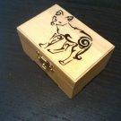 "rare hand made collectible "" coyote "" trinket box, fox, fur"