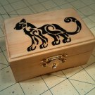 """rare hand made collectible """" tribal cat """" trinket box, tree house, post decorative"""
