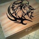 "rare new collectible "" hawk, american eagle "" wood, hinged jewelry trinket box"