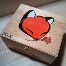 "rare collectible "" fox with rose 4 "" trinket box, womens jewelry box, present, gift, stash box"