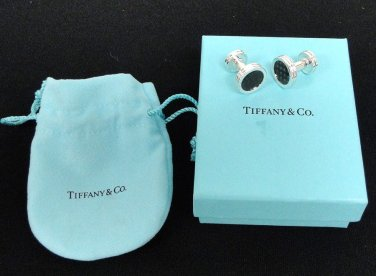TIFFANY AND CO. ~ PALOMA PICASSO ~ CUFF LINKS ~ CARBON FIBER IN SILVER ~ SOPHISTICATED ~ MODERN !!