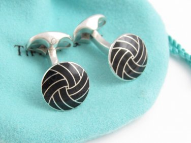 TIFFANY AND CO. CUFF LINKS ~ SOLID SILVER AND BLACK ENAMEL ~ ENGLAND ~  STUNNING !!!