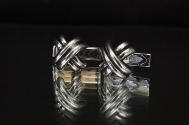TIFFANY AND CO. CUFF LINKS ~ SOLID SILVER  ~ ICONIC KISSES ~  VERY NICE !!