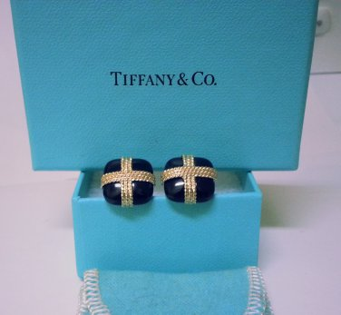 TIFFANY AND CO. CUFF LINKS ~ RARE ~ 14 K GOLD OVER  BLACK ONYX ~ BOX AND POUCH