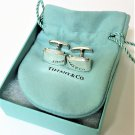TIFFANY AND CO, CUFF LINKS ~ METROPOLIS ~ 925 SOLID SILVER ~ BOX AND POUCH ~ EXCELLENT !!!