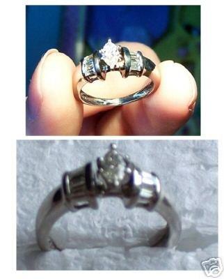 Women's Platinum and Diamond Engagement Ring Size 6