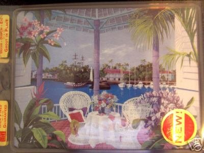 NEW 8'' X 6'' Painted Tile -- Cafe Table Tropical Scene