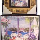 15' X 13' Framed Painted Tile--Gazebo, Water Scene
