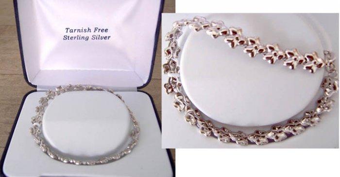 Childs Sterling Silver Floral Design Bracelet NEW