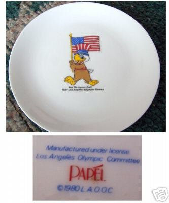 Sam the Olympic Eagle 1984 LA USA Olympics Plate Flag