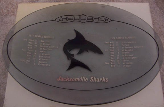 1974 WFL Jacksonville Sharks Schedule Football Plate