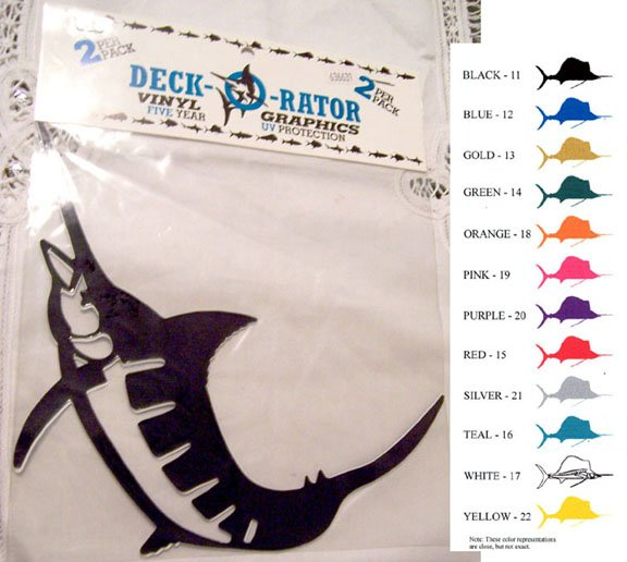 Jumping Marlin Vinyl Decal 2 pack Blue