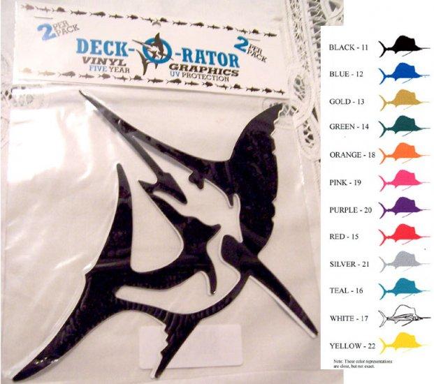 Jumping Sailfish Vinyl  2 pack Decal Yellow