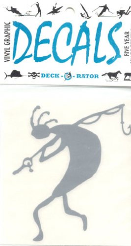 Kokopelli Fisherman Vinyl Decal Single Left Facing Silver